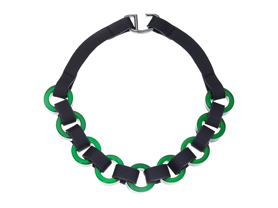 French Connection - Circle Resin and Faux Leather Link Necklace (Hematite/Green) Necklace