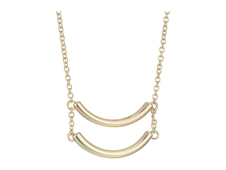 French Connection - Double Curved Tube Pendant Necklace (Gold) Necklace