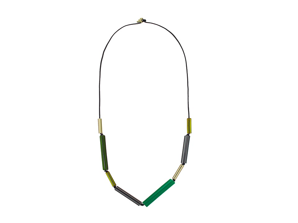 French Connection - Long Tube Mix Beads On Leather Cord Necklace (Gold/Hematite/Green Multi) Necklace