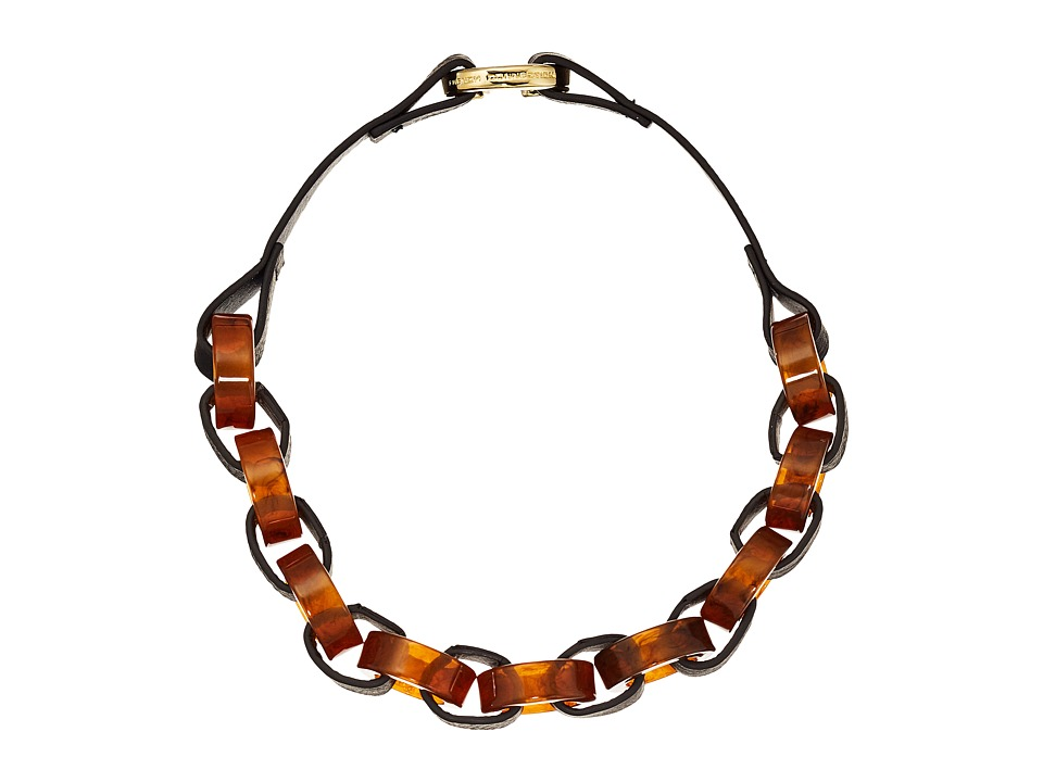 French Connection - Circle Resin and Faux Leather Link Necklace (Gold/Tortoise) Necklace