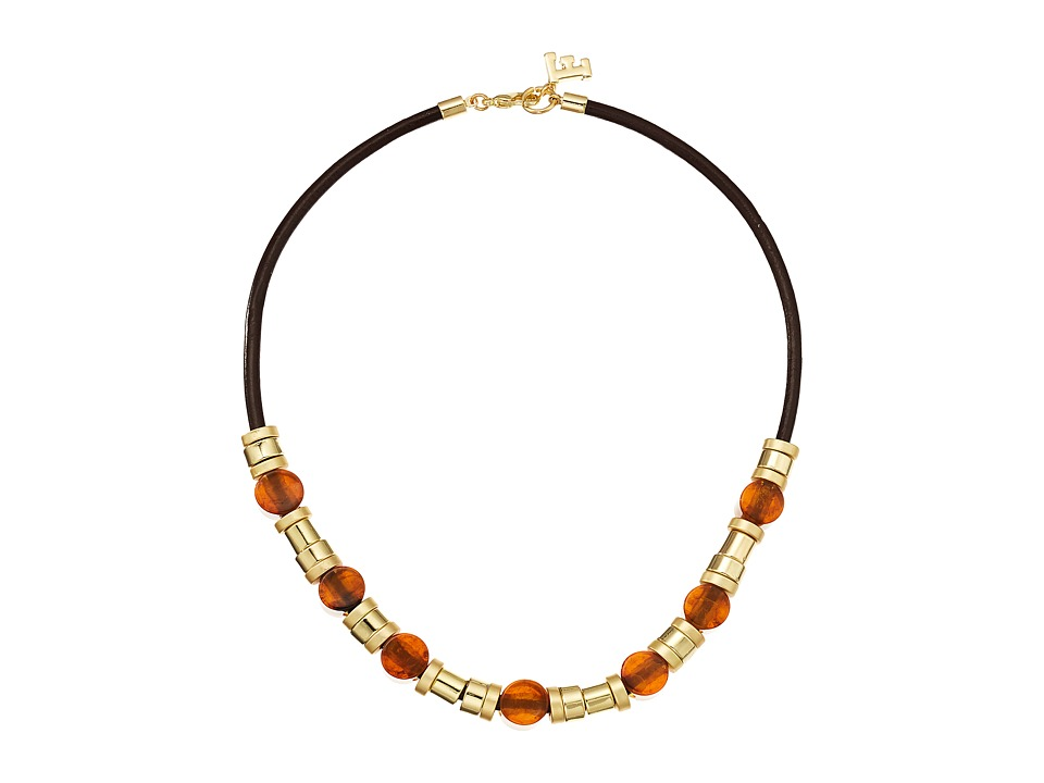 French Connection - Resin and Metal Tube Bead Mix Frontal Necklace (Gold/Matte Gold/Tortoise) Necklace