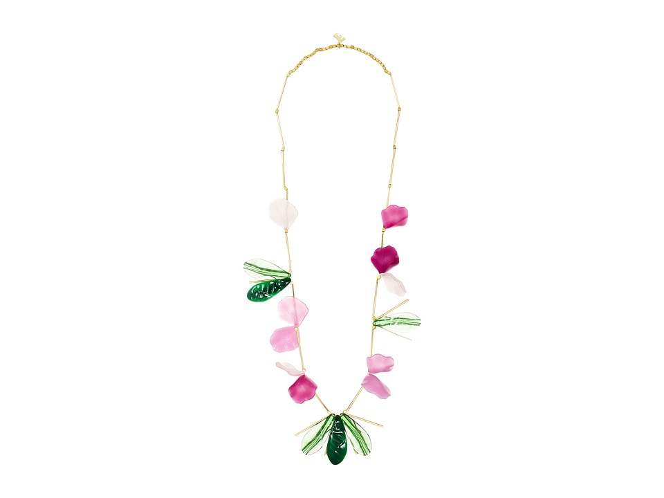 French Connection - Endless Petal Leaf Illusion Necklace (Gold/Matte Gold/Dark Magenta Multi) Necklace