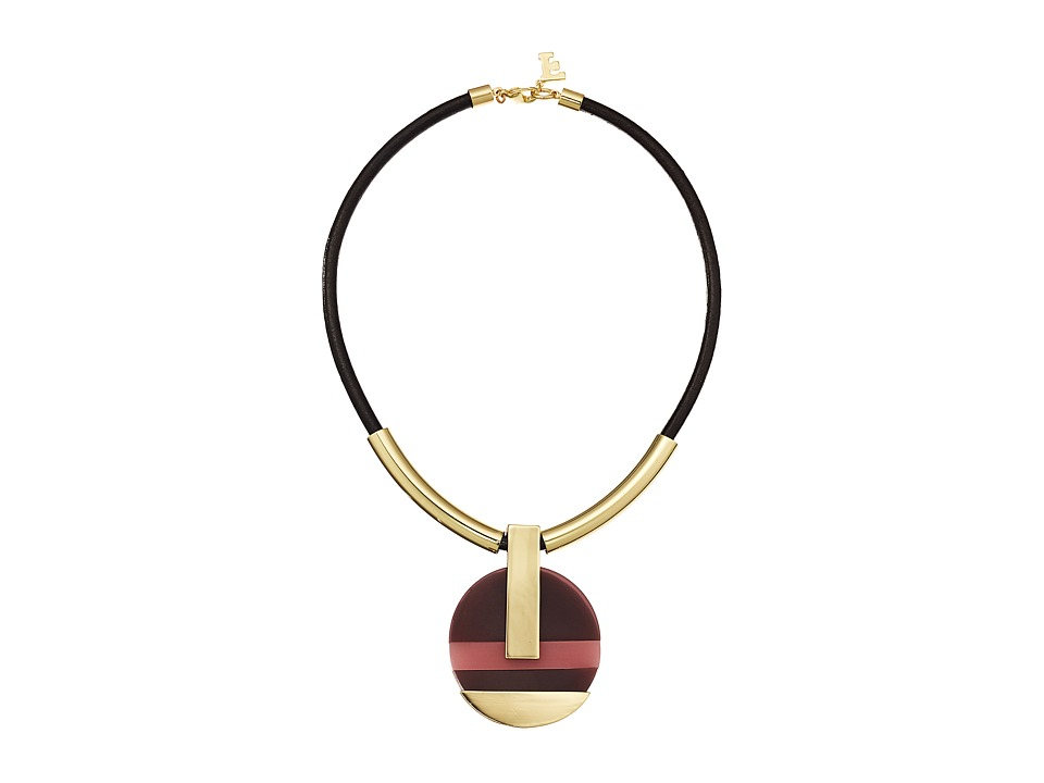 French Connection - Color Block Mod Pendant Necklace (Gold/Dark Magenta Multi) Necklace
