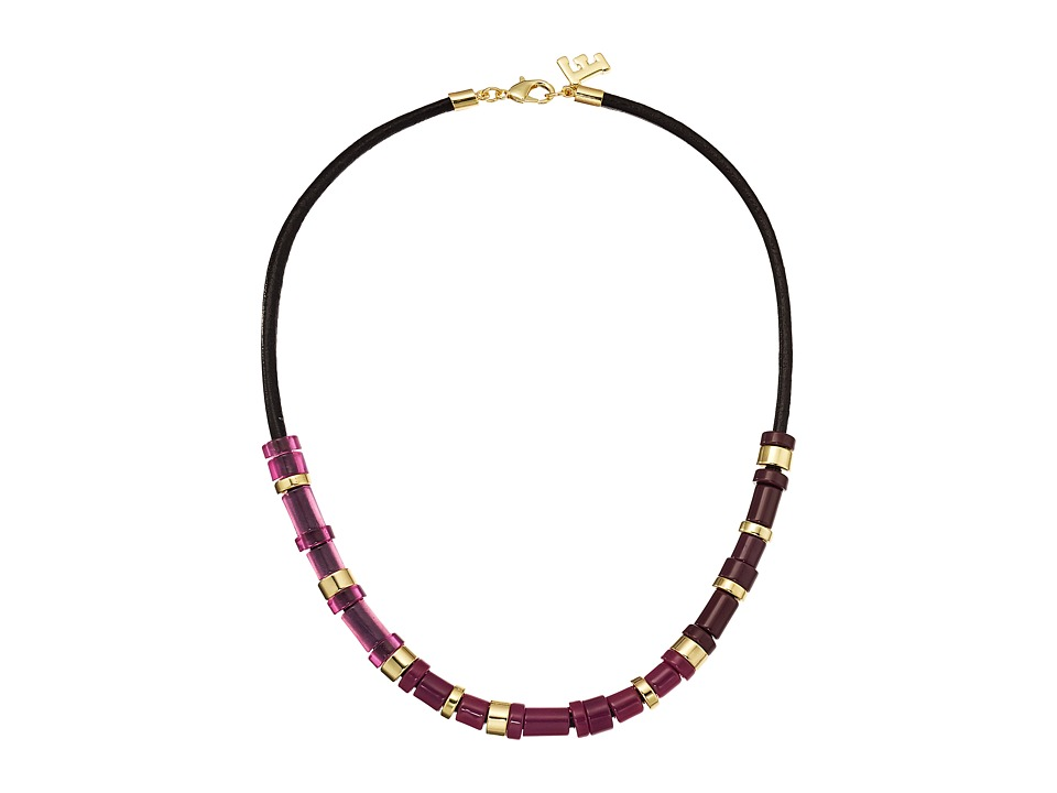 French Connection - Resin and Metal Tube Bead Mix Frontal Necklace (Gold/Dark Magenta Multi) Necklace