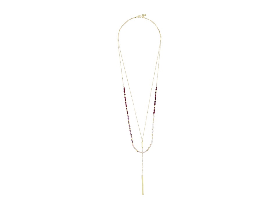 French Connection - Delicate Layered Y Necklace (Gold/Purple Multi) Necklace