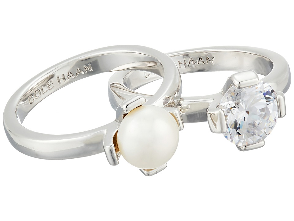 Cole Haan - Cream Stack Ring Set (Rhodium/FWP/CZ) Ring