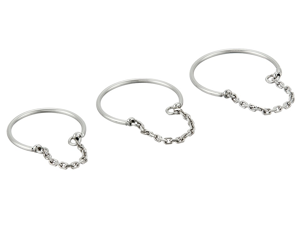 French Connection - Delicate Band and Chain Detail Midi Ring Set (Silver) Ring