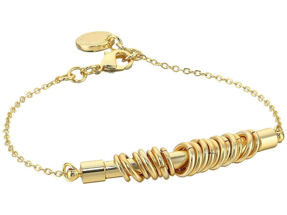French Connection - Tube with Jump Ring Detail On Delicate Chain Bracelet (Gold/Matte Gold) Bracelet