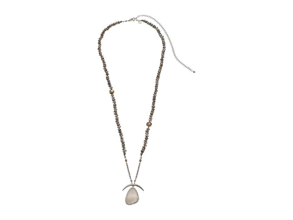 Chan Luu - 30-37' Adjustable Mystic Labradorite Necklace with Druzy Agate Pendant (Grey Mix) Necklace