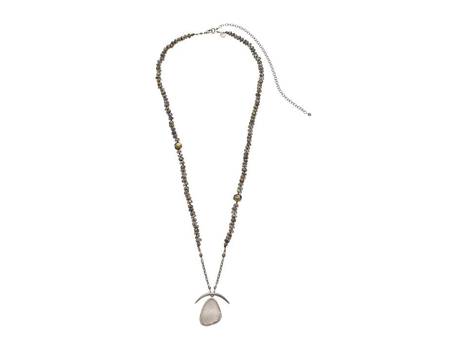 Chan Luu - 30-37' Adjustable Mystic Labradorite Necklace with Druzy Agate Pendant (Grey Mix) Necklace