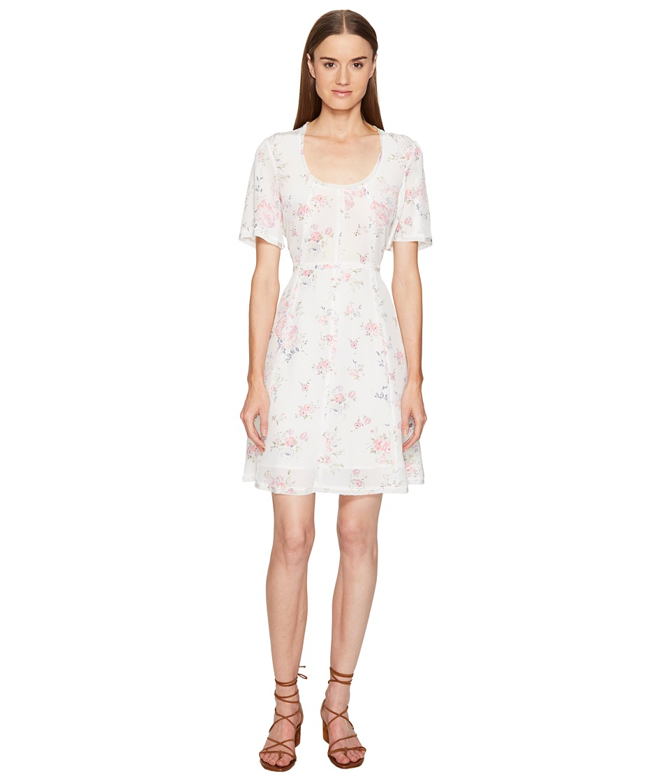 The Kooples - Vintage Flowers on Silk Crepe de Chine Short Sleeve Tea Dress (White) Women's Dress