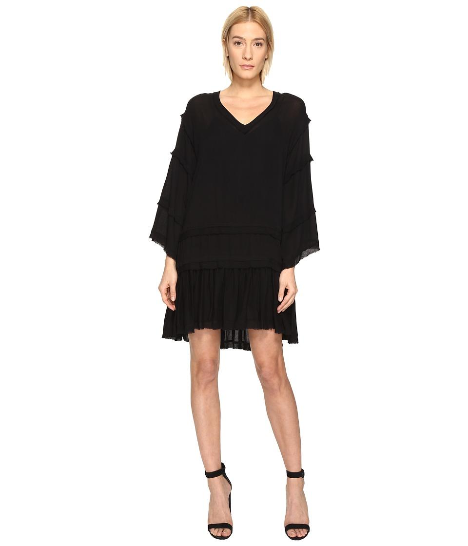 The Kooples Sport Crinkle Viscose Long Sleeve Dress (Black) Women