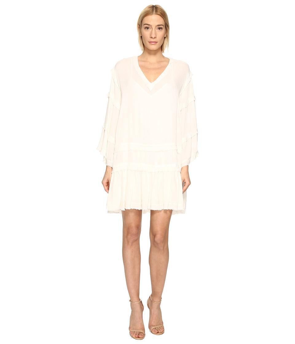 The Kooples - Sport Crinkle Viscose Long Sleeve Dress (Ecru) Women's Dress