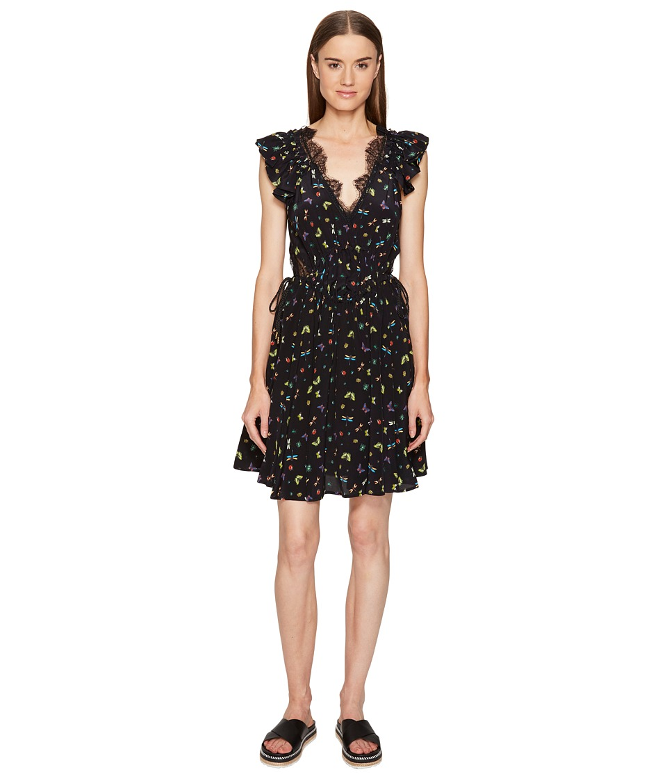 The Kooples - Ladybird Print on Silk Crepe de Chine Short Sleeve Dress (Black) Women's Dress