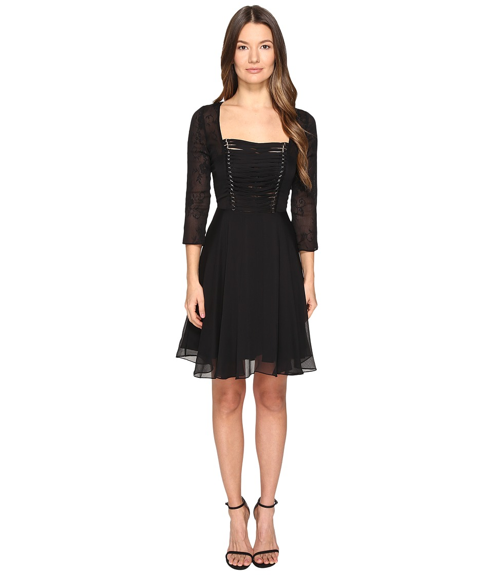 The Kooples - Chiffon Lacing 3/4 Sleeve Dress (Black) Women's Dress