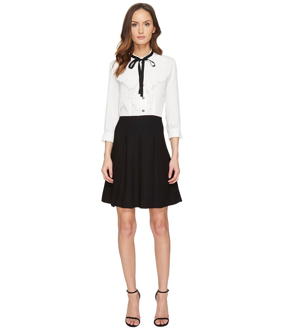 The Kooples - Crepe Silk Crepe de Chine Twofer Long Sleeve Dress (White) Women's Dress