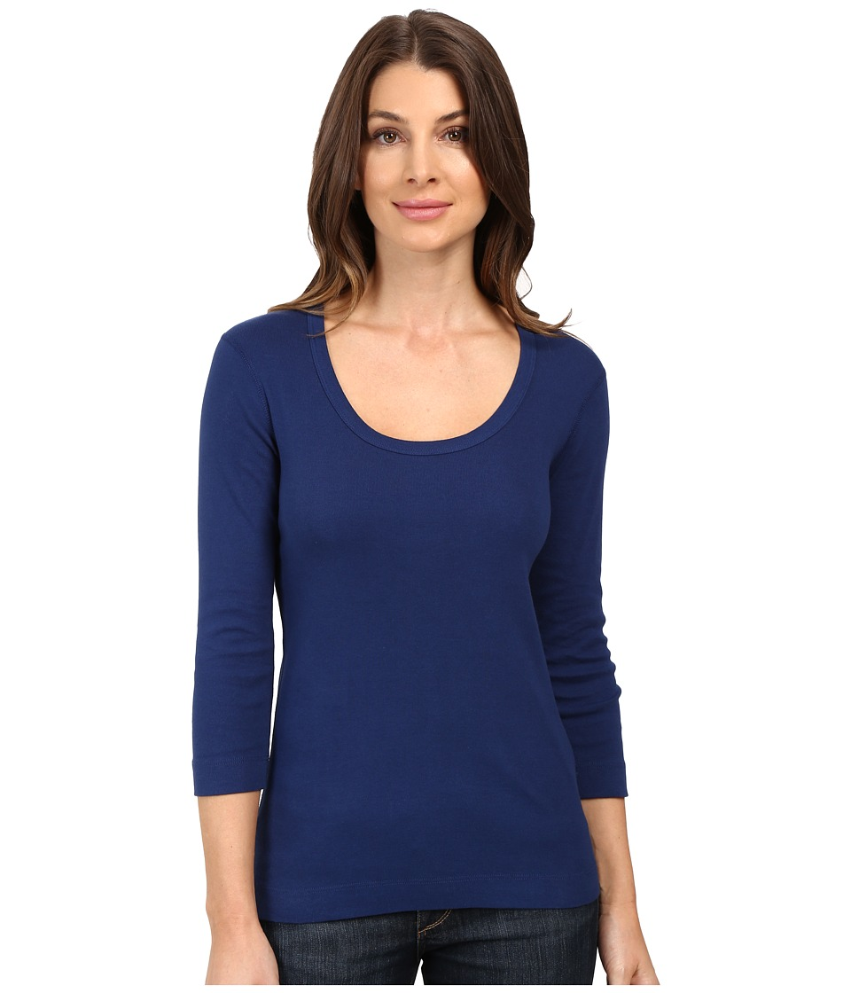 Three Dots 3/4 Sleeve Scoop Neck (Blue Depths) Women