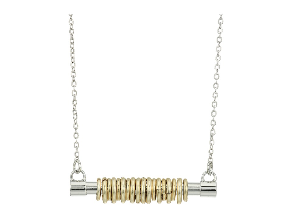 French Connection - Tube with Jump Ring Detail Horizontal Pendant Necklace (Silver/Matte Gold) Necklace