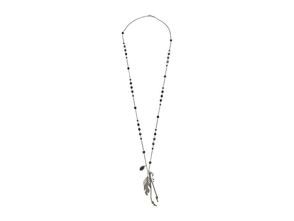 Chan Luu - 34' Hyperstene Necklace with Layering Leaf Charm (Hyperstene) Necklace