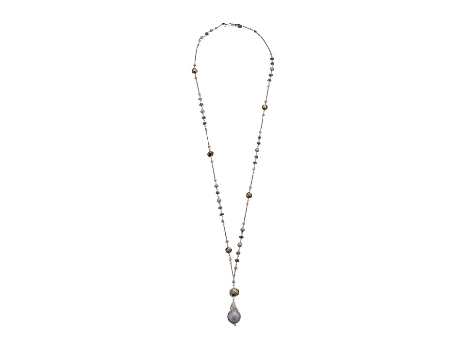 Chan Luu - 34' Mystic Labradorite and Pyrite Necklace with Grey Freshwater Drop Pearl (Grey Mix) Necklace