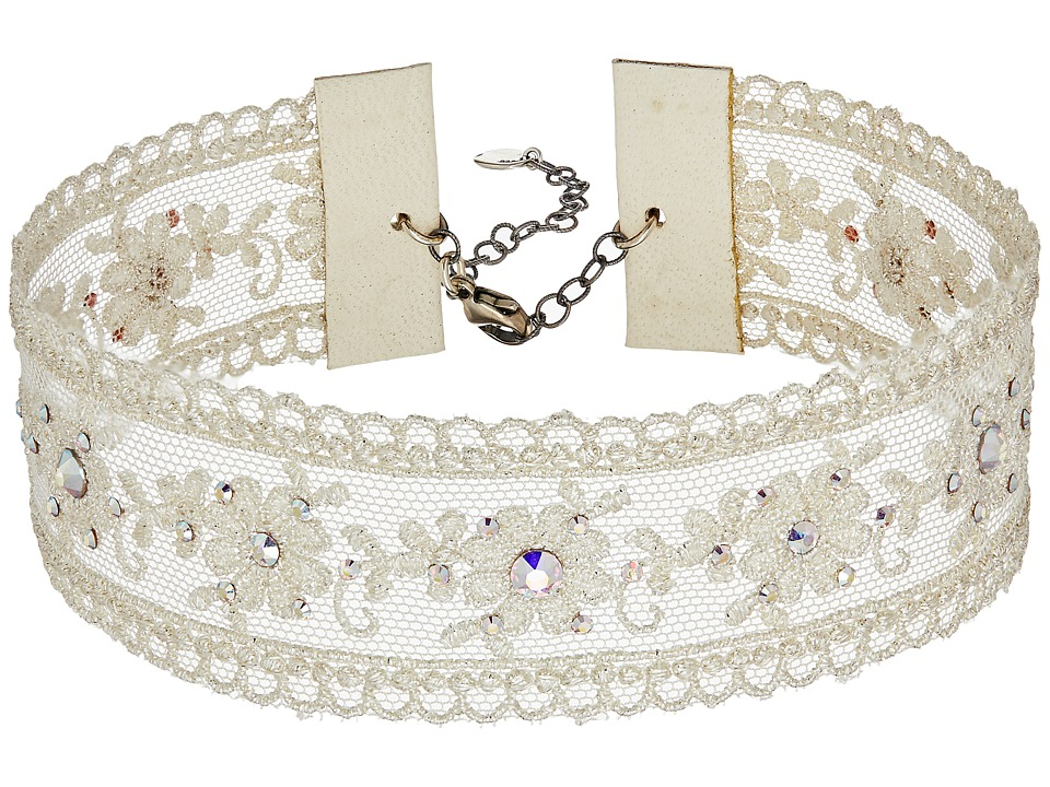 Chan Luu - Adjustable White Lace Choker with Swarovski Crystals Necklace (White Mix) Necklace