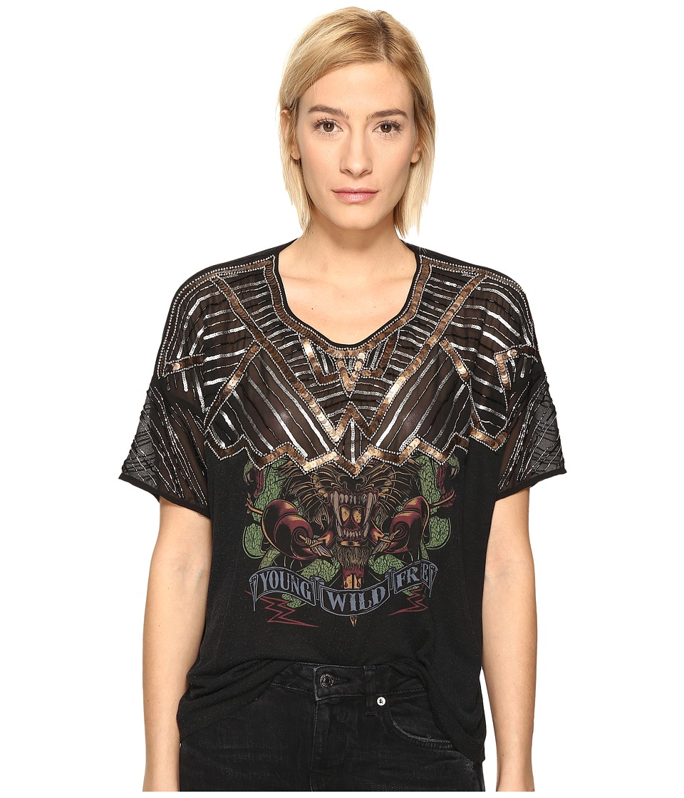 The Kooples - Sport Embroidery Viscose Print T-Shirt (Black) Women's T Shirt