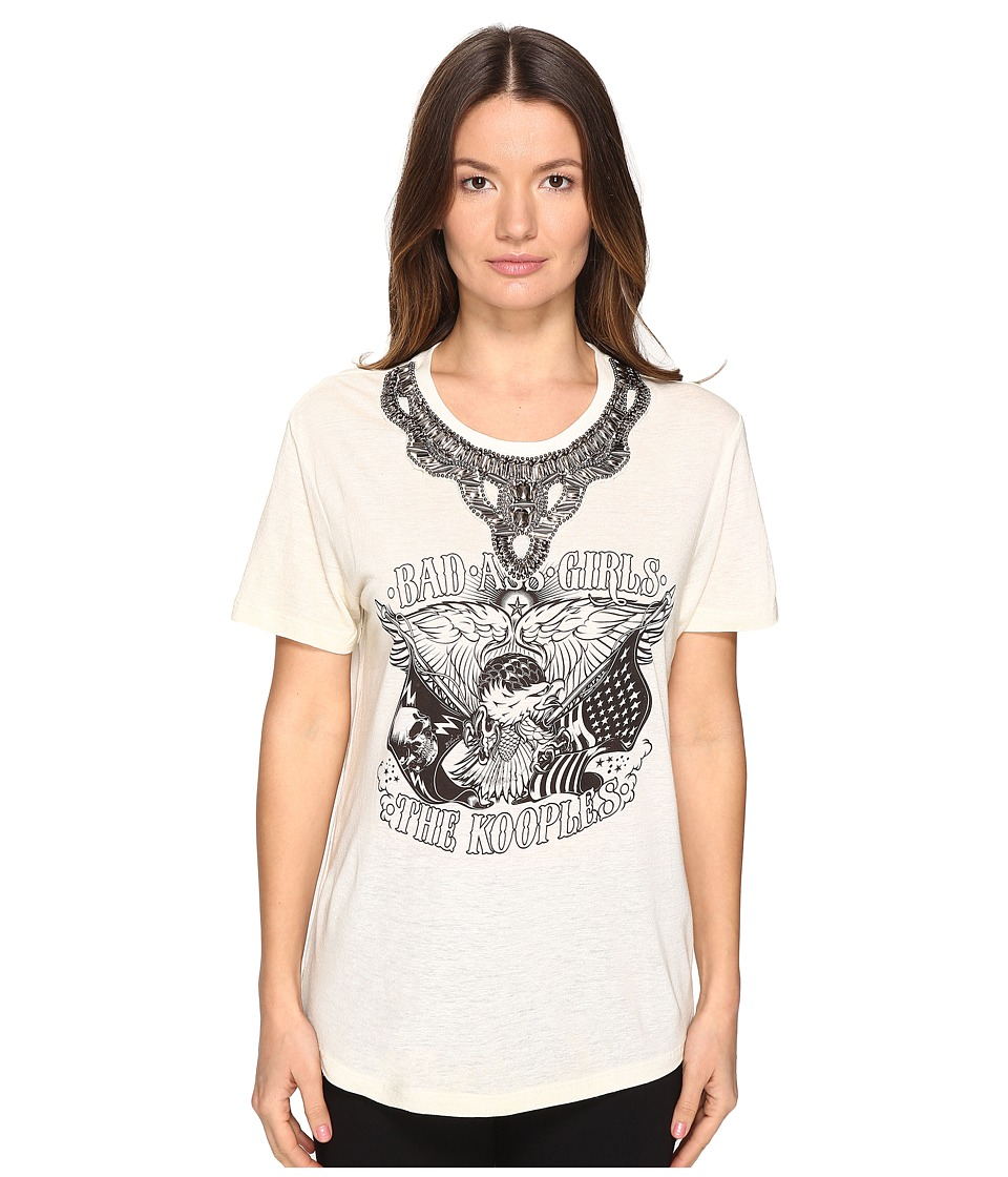 The Kooples - Embroidery Mix Linen Short Sleeve Tee (Ecru) Women's T Shirt