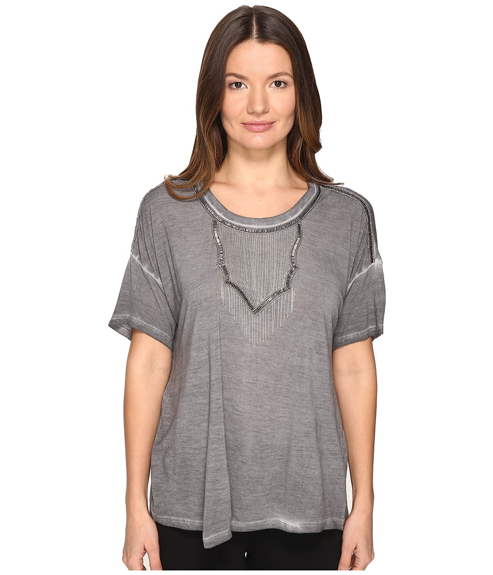 The Kooples - Wave Dyeing Jersey Chain Short Sleeve Tee (Grey) Women's T Shirt