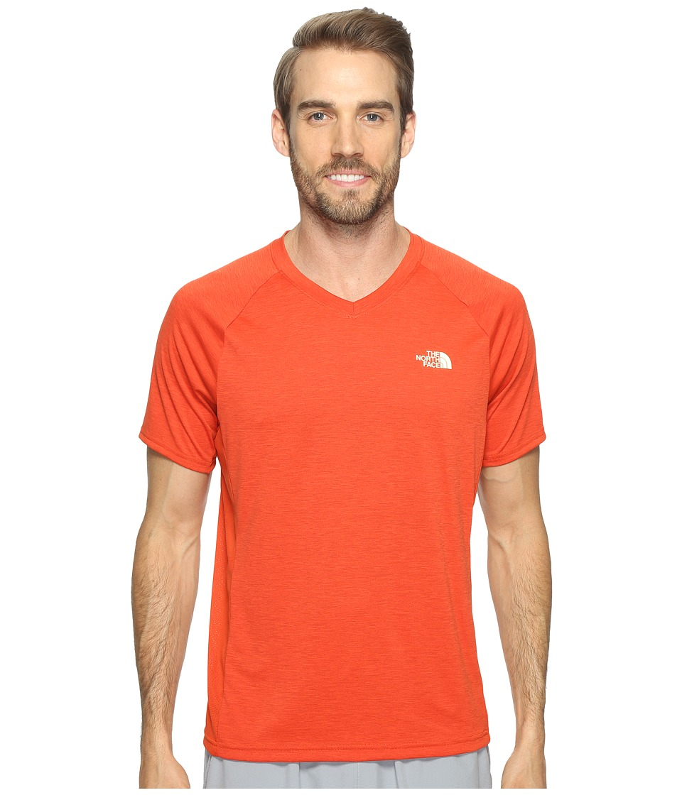 The North Face - Ambition V-Neck (Tibetan Orange Heather/Tibetan Orange (Prior Season)) Men's T Shirt