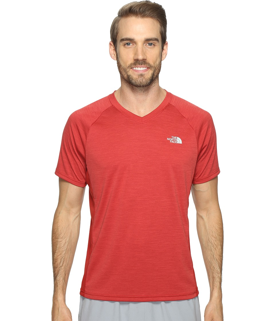 The North Face - Ambition V-Neck (Cardinal Red Heather/Cardinal Red (Prior Season)) Men's T Shirt