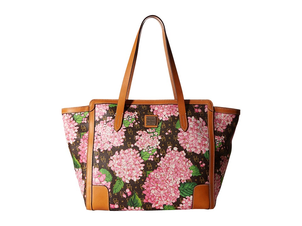 Dooney & Bourke - Hydrangea East/West Shopper (Pink/Butterscotch Trim) Handbags