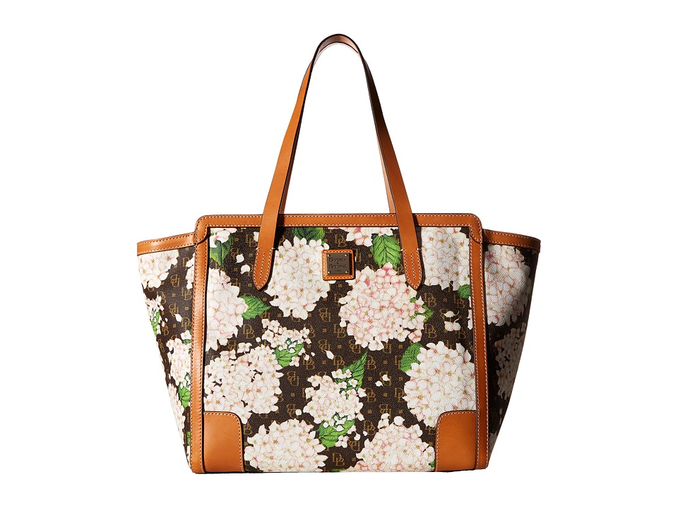Dooney & Bourke - Hydrangea East/West Shopper (White/Butterscotch Trim) Handbags