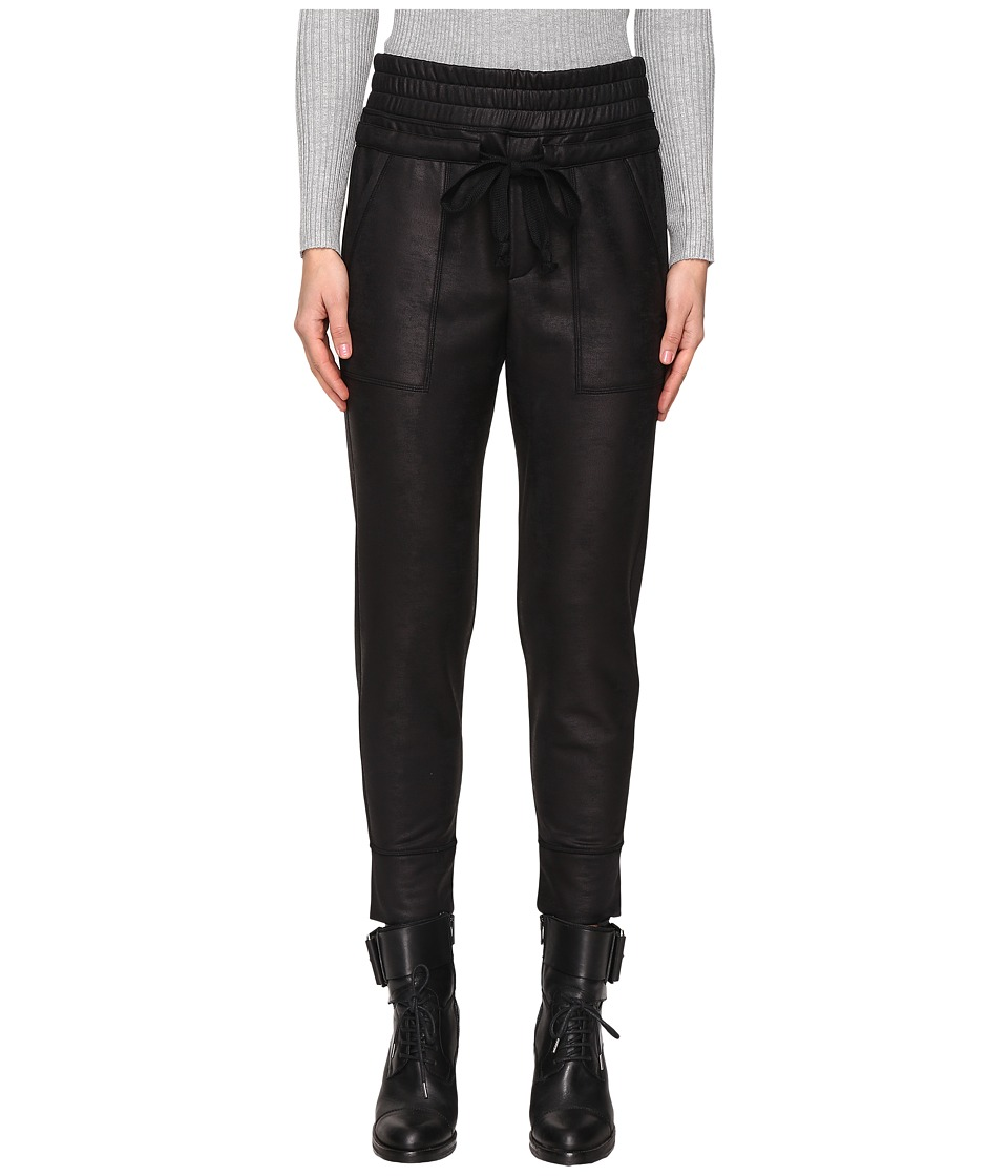 The Kooples - Sport Leather Effect Fleece Banded Sweatpants (Black) Women's Casual Pants