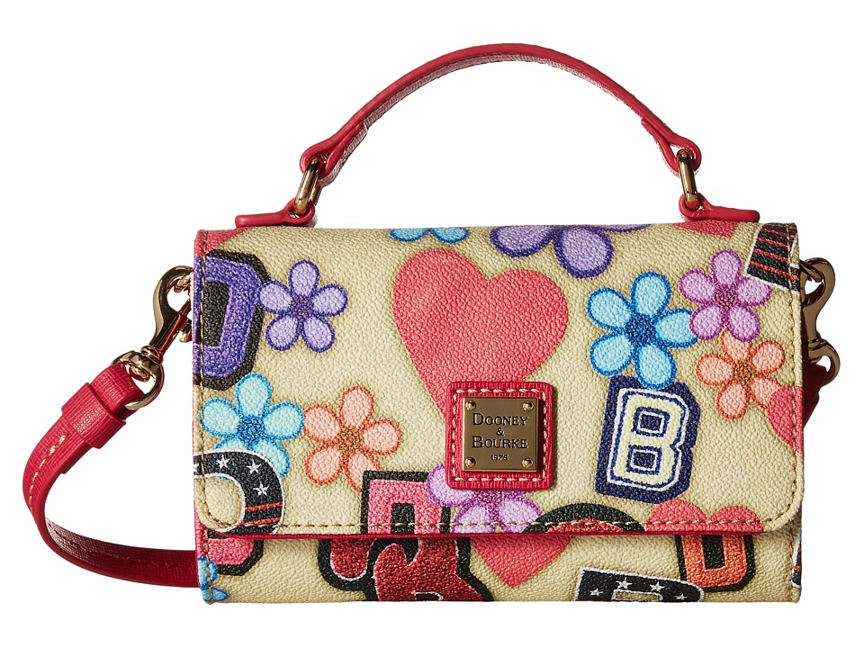 Dooney & Bourke - Small Mimi Crossbody Varsity (Beige/Hot Pink Trim) Cross Body Handbags