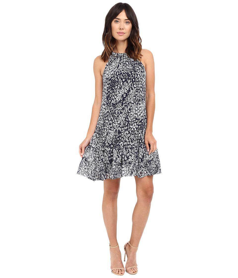 Christin Michaels - Leah Halter Woven Dress (Navy/White) Women's Dress
