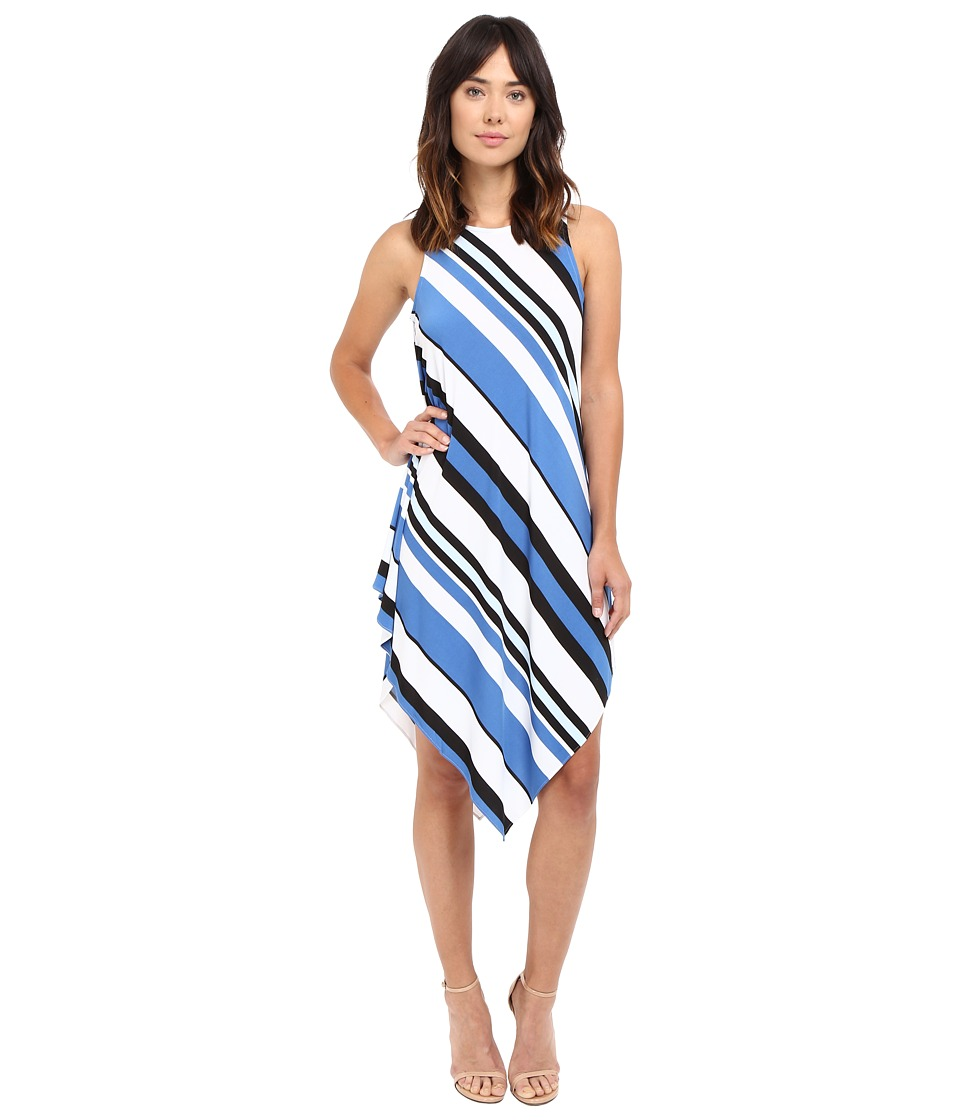 Christin Michaels - Lina Asymmetrical Tank Maxi Dress (White/Light Blue) Women's Dress