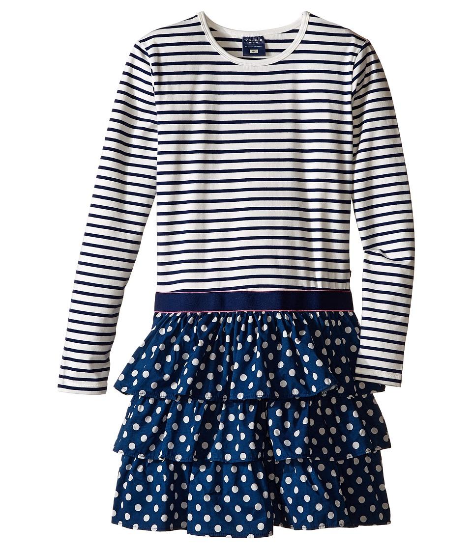 Toobydoo - Kalia Ruffle Dress (Toddler/Little Kids/Big Kids) (Navy/White) Girl's Dress