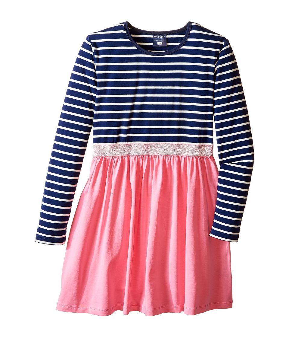 Toobydoo - Picture Perfect Sparkle Belt Dress (Toddler/Little Kids/Big Kids) (Navy/White/Pink/Silver Belt) Girl's Dress