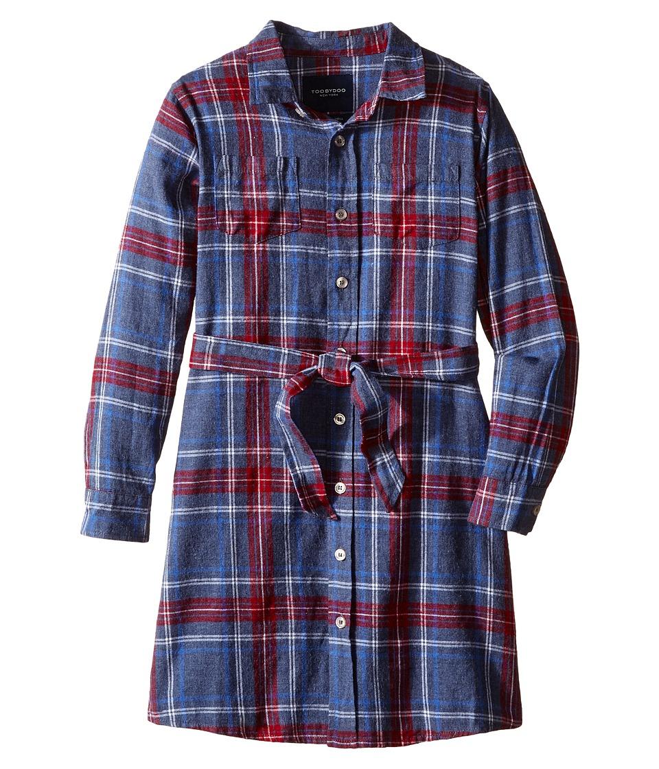 Toobydoo - Skylar Flannel Shirtdress (Toddler/Little Kids/Big Kids) (Red/Blue/White) Girl's Dress