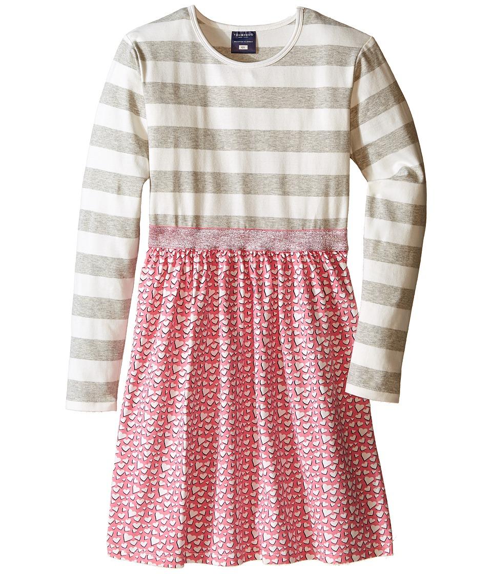 Toobydoo - Sweetheart Sparkle Belt Dress (Toddler/Little Kids/Big Kids) (Gray/White/Pink Heart Skirt/Silver Belt) Girl's Dress