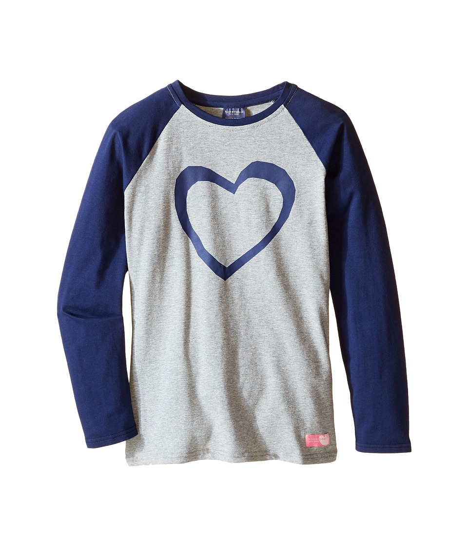 Toobydoo - Hip and Cool Heart Tee (Toddler/Little Kids/Big Kids) (Gray/Navy Heart Graphic) Girl's T Shirt