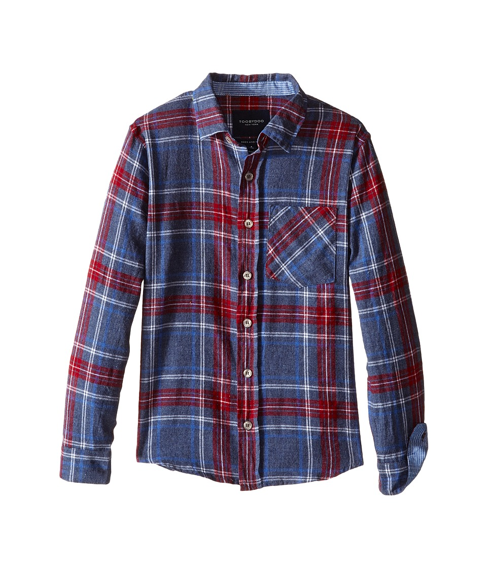 Toobydoo - Into the Woods Flannel Shirt (Infant/Toddler/Little Kids/Big Kids) (Blue/Red/White) Boy's Clothing