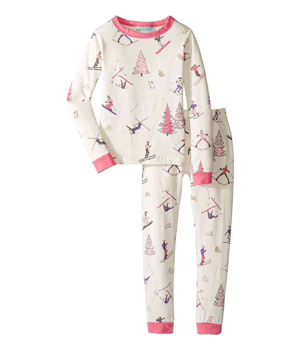 BedHead Kids - Long Sleeve Long Pants Set (Toddler/Little Kids) (Pink Ski Bunnies) Girl's Pajama Sets