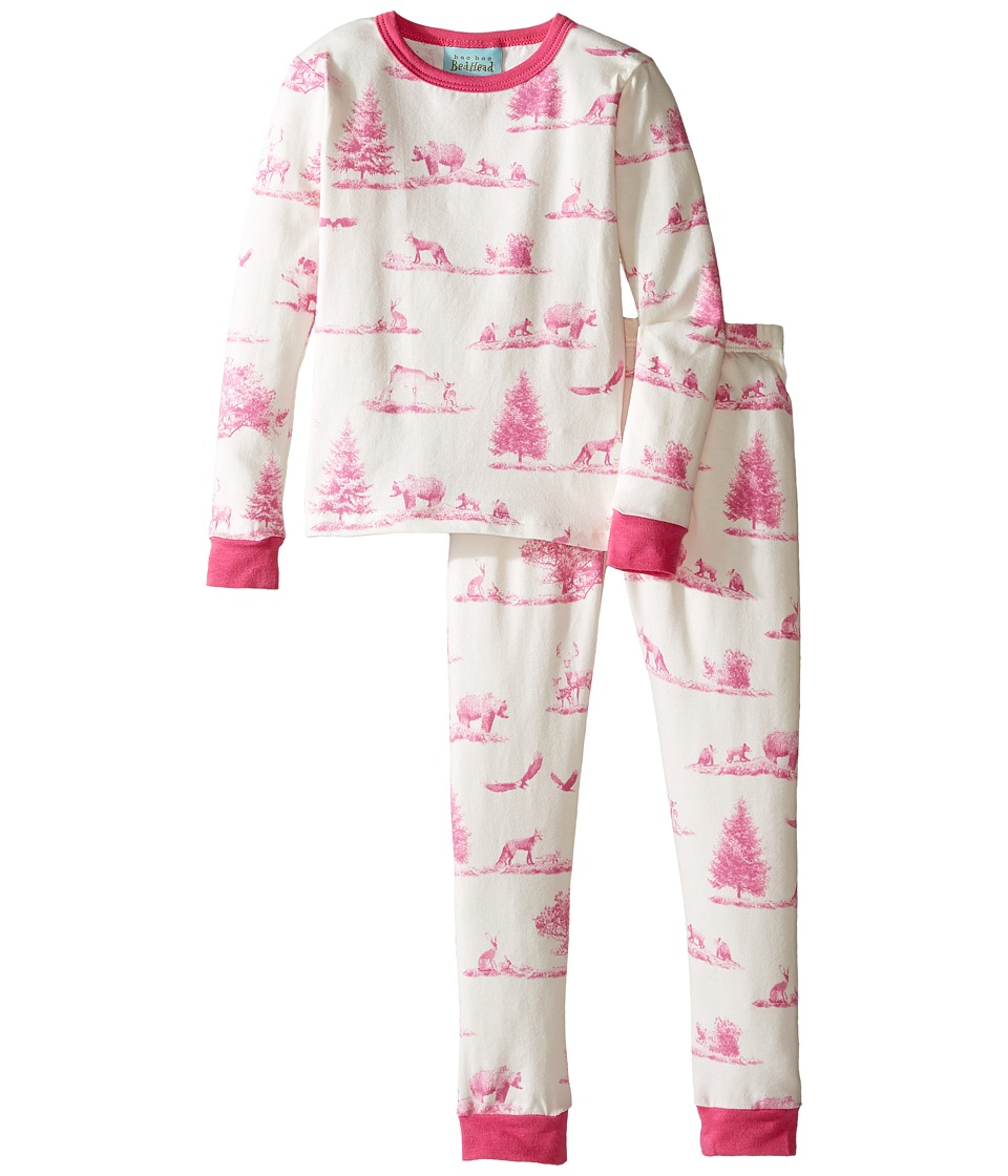BedHead Kids - Long Sleeve Long Pants Set (Toddler/Little Kids) (Pink American Safari) Girl's Pajama Sets