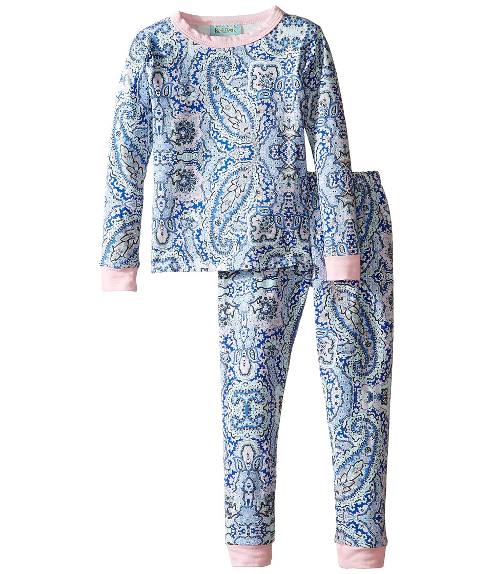 BedHead Kids - Long Sleeve Long Pants Set (Toddler/Little Kids) (Indigo Boho Paisley) Girl's Pajama Sets