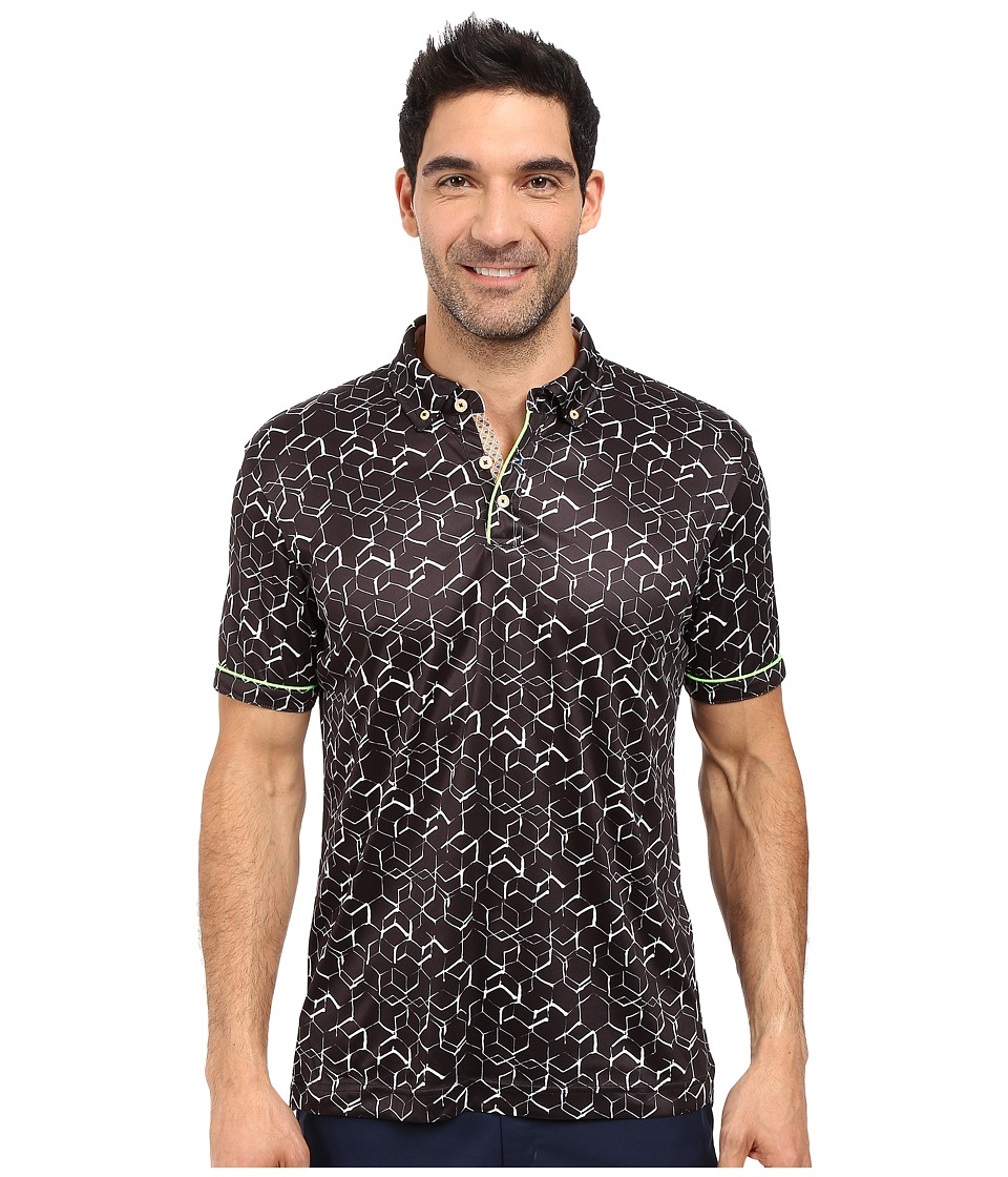 Robert Graham - Hills of Sand Short Sleeve Knit Polo (Black) Men's Short Sleeve Pullover