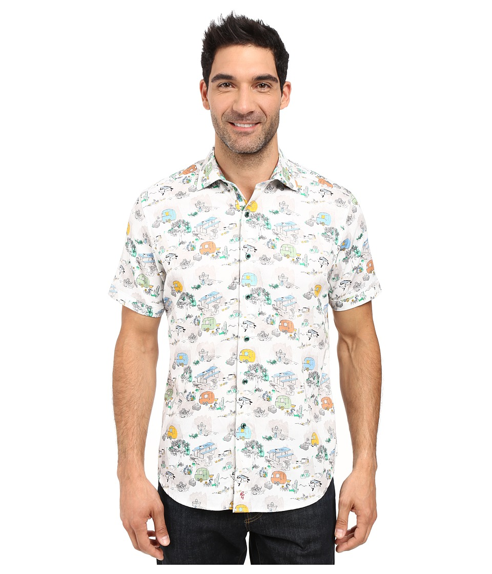 Robert Graham - Cactus Bob Short Sleeve Woven Shirt (White) Men's Clothing