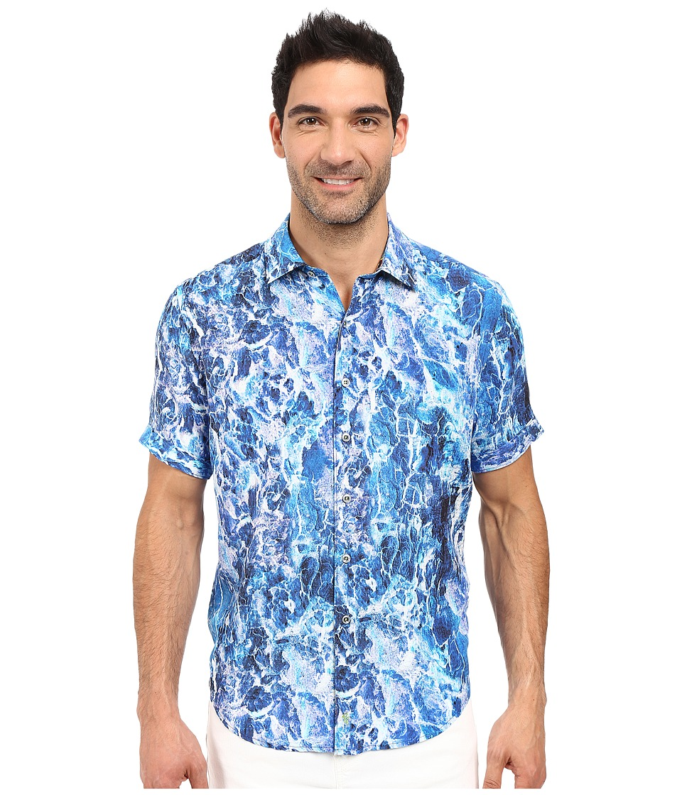 Robert Graham - River Jordan Short Sleeve Woven Shirt (Blue) Men's Clothing