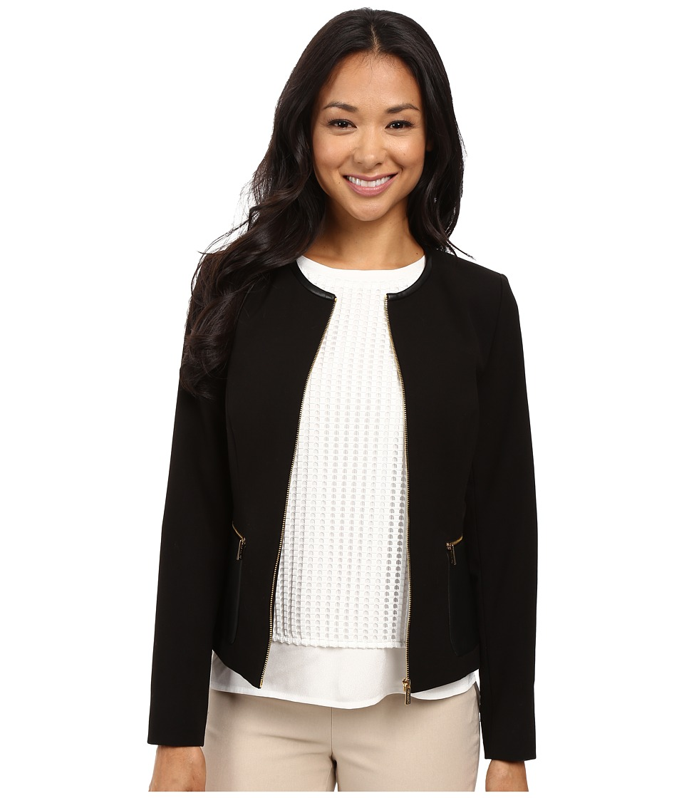 Calvin Klein - Center Zip Jacket w/ Faux Leather (Black) Women's Jacket