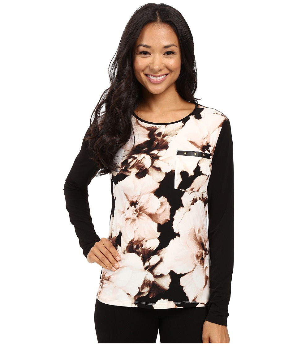 Calvin Klein - Long Sleeve Top w/ Rivet Pocket Detail (Latte Multi) Women's Long Sleeve Pullover